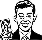 Man With Billion Dollar Bill — Stock Vector