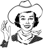Cowgirl Waving — Stock Vector