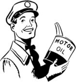 Serviceman With Motor Oil — Stock Vector
