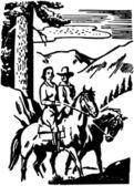 Couple Horseback Riding — Vecteur