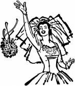 Bride Throwing Bouquet — Stock Vector