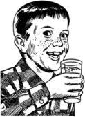 Boy With Drinking Glass — Stock Vector