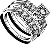 Ladies Wedding Ring Set — Stock vektor
