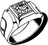 Mens Diamond Ring — Stock Vector