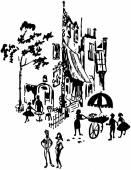 French Street Scene — Vetor de Stock