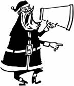 Santa With Megaphone — Stock Vector