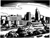 Illustrated City Skyline — Stock Vector