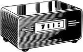 Drawn Clock in Radio — Stock Vector