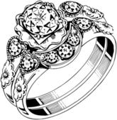 Drawn Clustered Diamond Ring — Vettoriale Stock