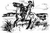 Kovboy kement ile at üzerinde — Stok Vektör