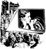 Vintage illustration - Crowd Watching Movie — Vector de stock