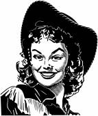 Retro Cowgirl illustrarion — Stock Vector