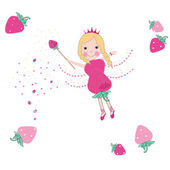 Strawberry fairy tale vector background — Stock Vector
