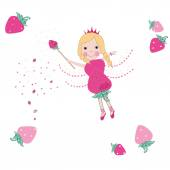 Strawberry fairy tale vector background — Vector de stock