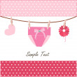 Baby greeting card with napkin, flower and heart vector — Stock Vector #55723017