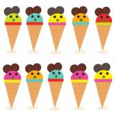 Funny ice creams vector — Stock Vector
