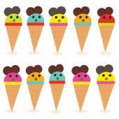 Funny ice creams vector — Vector de stock