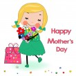 Happy mother's day card lovely girl with gift box and flowers — Stock Vector #56174459