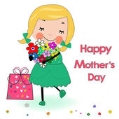 Happy mother's day card lovely girl with gift box and flowers — Vector de stock