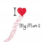 I love my mom mother's day hearts card — Stock Vector