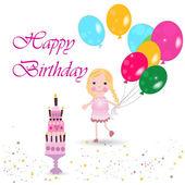 Celebrating birthday party with a girl holding ballon vector — Stock Vector