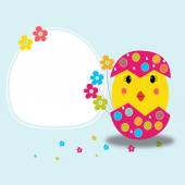Happy easter greeting card and chick vector — Stockvektor