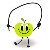 Funny cartoon skipping rope apple vector — 图库矢量图片