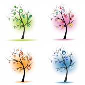 Four seasons tree with eye bead vector — Stock Vector