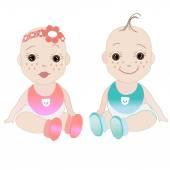 Baby Girl, Baby Boy Vector — Stock Vector