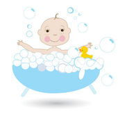 Happy cute baby in the bath vector — Stock Vector