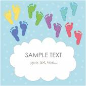 Baby foot print greeting card vector — Stock Vector