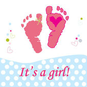 It's a girl baby foot  print vector greeting card — Stock Vector