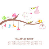 Baby arrival card with hanging hearts, flower, clothes and stork — Stock Vector