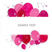 Pink ballons valentine days greeting with confetti vector — Stockvektor