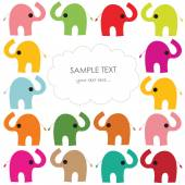Colorful elephant vector baby greeting card — Stock Vector