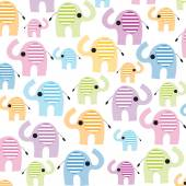 Colorful lined seamless elephant vector background — Stock Vector