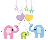 Baby elephant family greeting card vector background — Stock Vector