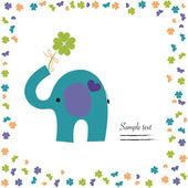 Elephant with clover vector good luck greeting card — Stock Vector