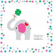 Good luck with elephant and clover vector greeting card — Stock Vector