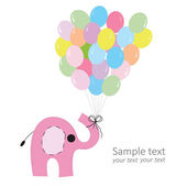 Pink elephant with colorful balloons baby greeting card vector — Stock Vector