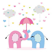Elephant family with heart and cloud background — Stock Vector