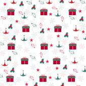 Christmas gift box, snowflake, tree pattern background — Stock Vector