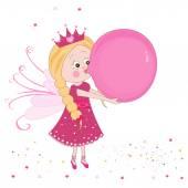 Cute fairy tale inflating a balloon vector — Stock Vector