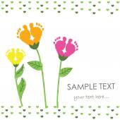Baby foot print with flower vector background — Stock Vector