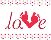 Valentine day baby footprints vector background — Stock Vector
