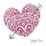 Fingerprint heart with arrow vector card — Stock Vector #65602997