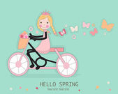 Cute girl riding a bicyle with spring flower and butterflies — Stock Vector