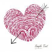 Fingerprint heart with arrow vector card — Stock Vector