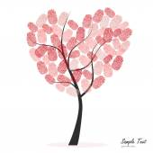 Heart tree with finger prints vector — Stock Vector