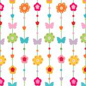 Happy spring floral pattern vector background — Stock Vector